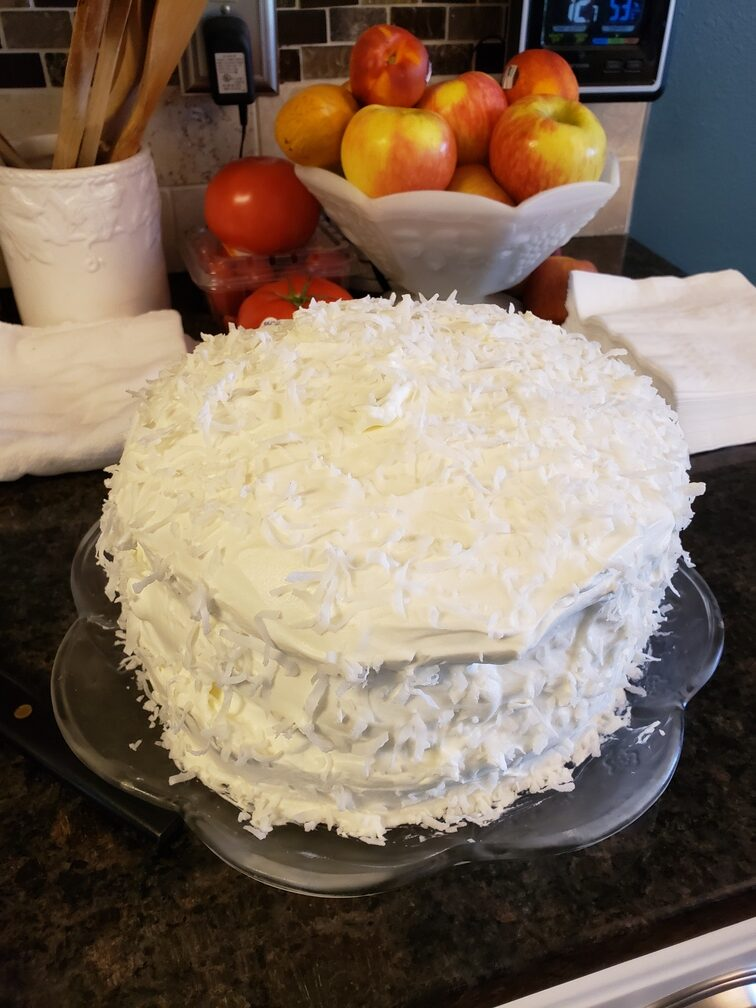 Old Fashioned Coconut Cream White Cake - Teresa Huff